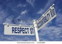 respect accoutability street sign